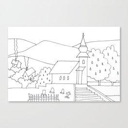 Little Village with Church No.: 02. Canvas Print