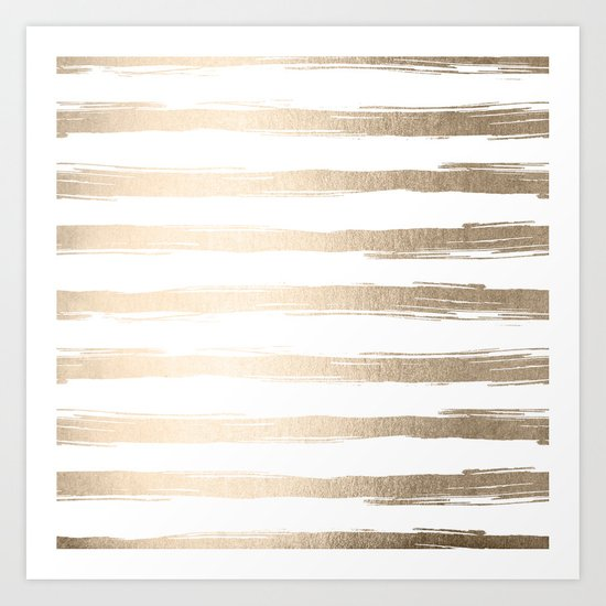 Simply Brushed Stripes White Gold Sands on White Art Print