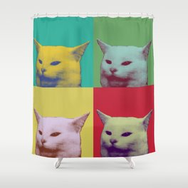 Pop art yelling cat meme Shower Curtain