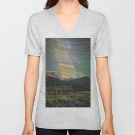 Startrails over nokhu crags Unisex V-Neck
