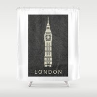 london Shower Curtains featuring London by NJ-Illustrations