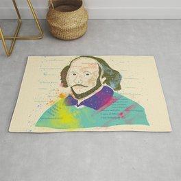 Portrait of William Shakespeare-Hand drawn Rug