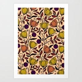 Autum cinch flowers Art Print