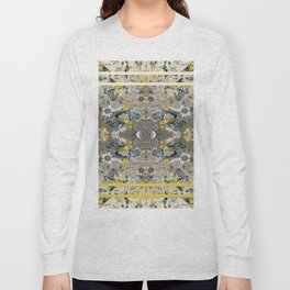 Passion Flower Baroque in Gold Yellow Grey Long Sleeve T-shirt