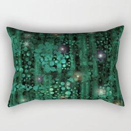 Deep Starry Night Forest Green Abstract Rectangular Pillow