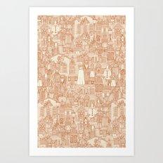 vintage halloween rust ivory Art Print