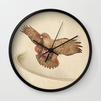 hawk Wall Clocks featuring Hawk by Terry Fan