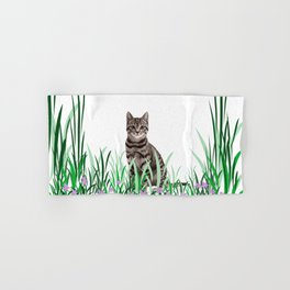 Tiger Cat green Grass with flower Hand & Bath Towel