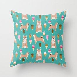 shiba inu ice cream dog breed pet pattern dog mom Throw Pillow