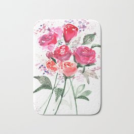 Abstract Watercolor Red Roses Bath Mat