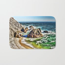 Amazing Surge Patterns in the Surf at Point Reyes, Calfornia Bath Mat