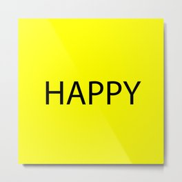 Happy Yellow Black Metal Print