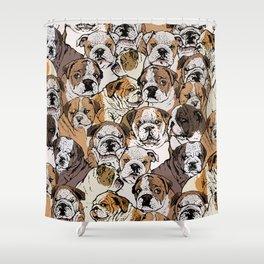 Social English Bulldog Shower Curtain