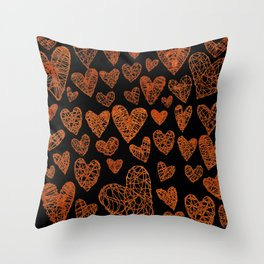 Wire Hearts Pattern in Copper on Black Throw Pillow