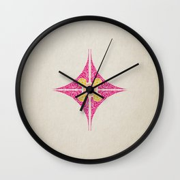 Pata Pattern in Pink & Yellow Wall Clock