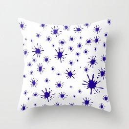 blue spots on white background Throw Pillow