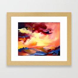 landscape, sunset Framed Art Print