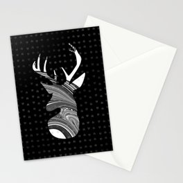 Black and White Deer Abstract Design Stationery Cards