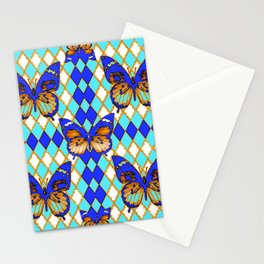 ARGYLE ABSTRACTED  BROWN SPICE  MONARCHS BUTTERFLY & BLUE-WHITE Stationery Cards