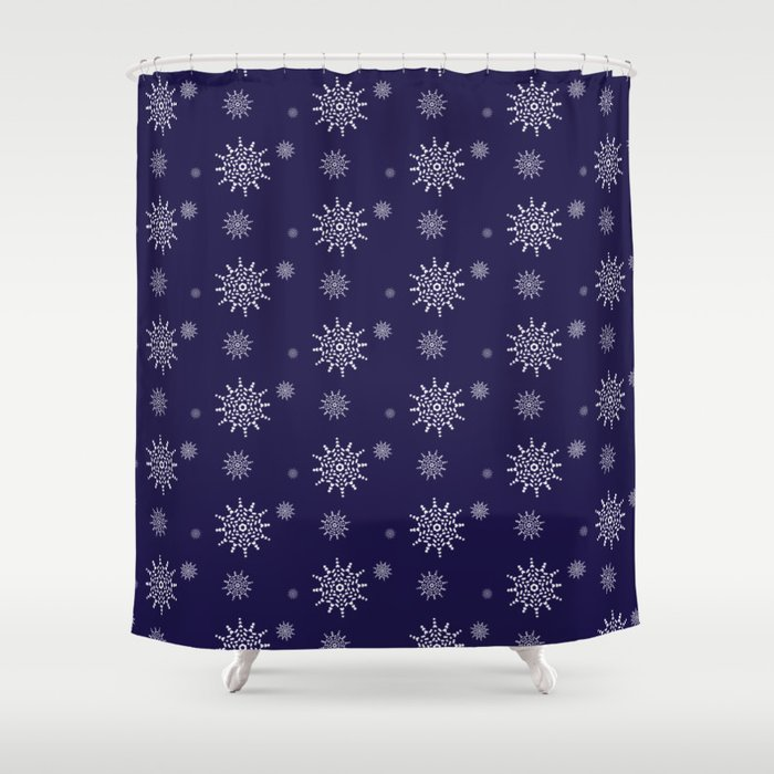 Snowflakes at Night Shower Curtain