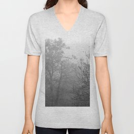 Black and white autumnal naked trees surrounded by fog Unisex V-Neck