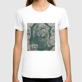 Angry Male Lion pattern graphics kazakh al fabric T-shirt