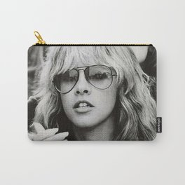 Stevie Nicks Young Black and white Retro Silk Poster Frameless Art Print Carry-All Pouch