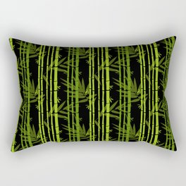 Green Bamboo Shoots and Leaves Pattern on Black Rectangular Pillow