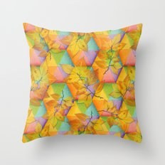 Harlequin Rainbow Leaves Throw Pillow