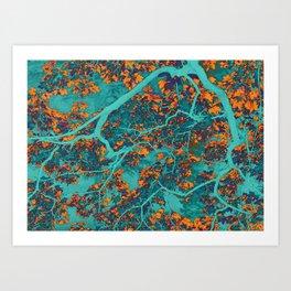 Colourful green and orange trees Art Print