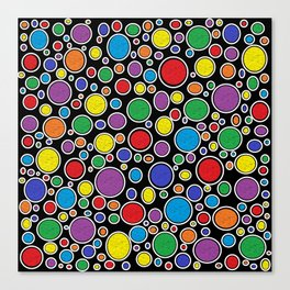 Colored Bubbles Black   Canvas Print