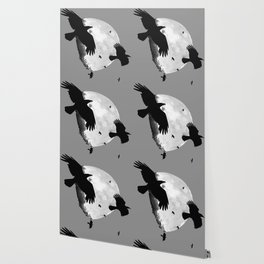 A Murder Of Crows Flying Across The Moon Wallpaper