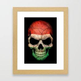 Dark Skull with Flag of Hungary Framed Art Print