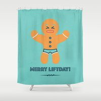 crossfit Shower Curtains featuring Merry liftday by Marielu