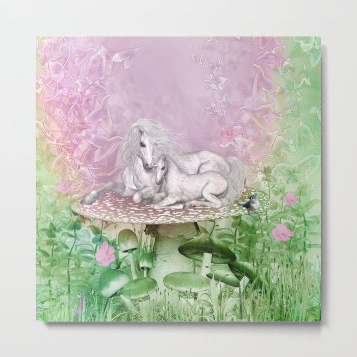 Wonderful unicorn with foal Metal Print