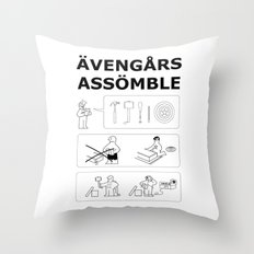 Superheroes Assembling - Black & White Throw Pillow