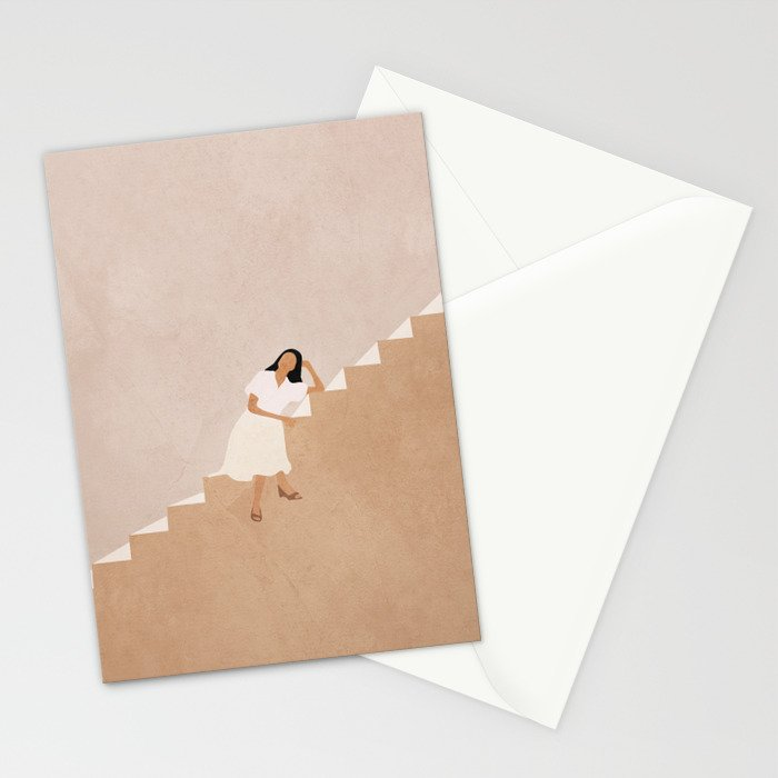 Girl Thinking on a Stairway Stationery Cards