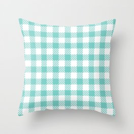 Turquoise Vichy Throw Pillow