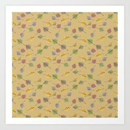 Colorado Aspen Tree Leaves Hand-painted Watercolors in Golden Autumn Shades on Jute Beige Art Print