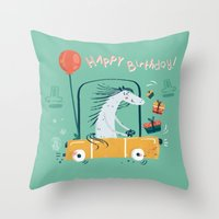 happy birthday Throw Pillows featuring Happy birthday! by Villie Karabatzia