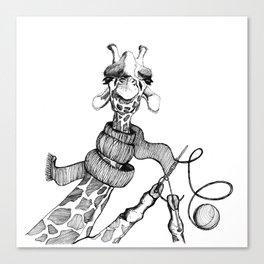 Knitting Giraffe Canvas Print