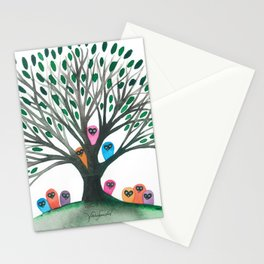 Minnesota Whimsical Owls in Tree Stationery Cards