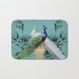 Blue Peacock and White Peacock Pair Teal Photo Art A032 Bath Mat