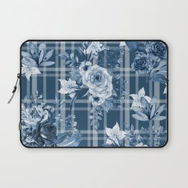 Elegant Blue Floral Plaid Laptop Sleeve