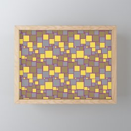 Gray Yellow Brown Purple Funky Mosaic Pattern V12 Pantone 2021 Colors of the Year & Accent Shades Framed Mini Art Print