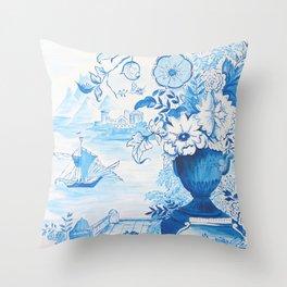 Classic Blue White Chinoiserie Throw Pillow