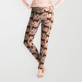 Red Angus cattle breed floral farm homestead gifts cow pattern Leggings