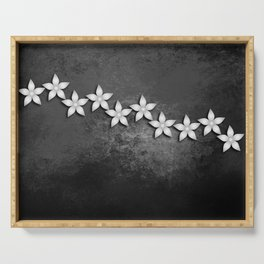 Spectacular silver flowers on black grunge texture Serving Tray