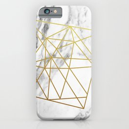 Gold geometric marble iPhone Case