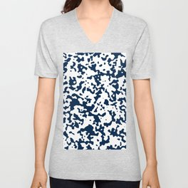 Spots - White and Oxford Blue Unisex V-Neck